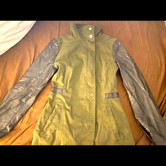 H&M army jacket with faux leather sleeves